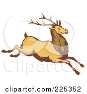 Royalty Free RF Clipart Illustration Of A Leaping Deer Stag by patrimonio