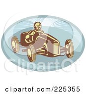 Retro Race Car Driver On A Blue Oval Logo