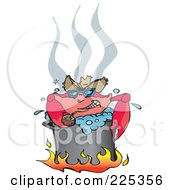 Royalty Free RF Clipart Illustration Of A Happy Crab Drinking Coconut Milk While Boiling Over A Fire In A Pot by Dennis Holmes Designs