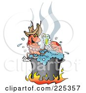 Happy Prawn Drinking A Lemonade While Boiling Over A Fire In A Pot