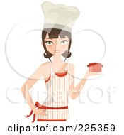 Pretty Brunette Chef Woman Holding A Casserole Dish