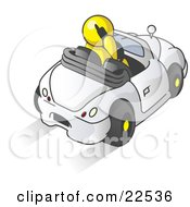 Clipart Illustration Of A Yellow Businessman Talking On A Cell Phone While Driving In A White Convertible Car by Leo Blanchette