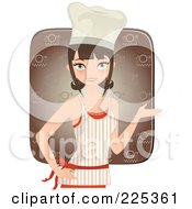Royalty Free RF Clipart Illustration Of A Pretty Brunette Chef Woman Presenting And Wearing An Apron Over A Brown Square by Melisende Vector