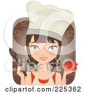 Pretty Brunette Chef Woman Holding A Casserole Dish And Spoon Over A Brown Square