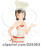 Pretty Brunette Chef Woman Smiling And Presenting