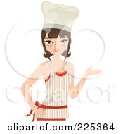 Pretty Brunette Chef Woman Presenting