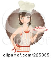 Pretty Brunette Chef Woman Holding A Cake And Wearing An Apron Over A Brown Circle