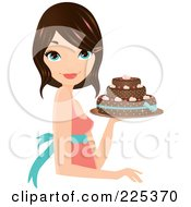Royalty Free RF Clipart Illustration Of A Pretty Brunette Woman Holding A Decorated Cake And Smiling by Melisende Vector #COLLC225370-0068
