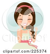 Royalty Free RF Clipart Illustration Of A Happy Brunette Woman In A White Dress Touching Her Cheek And Laughing Over A Blue Circle by Melisende Vector #COLLC225374-0068