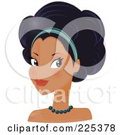 Royalty Free RF Clipart Illustration Of A Pretty Hispanic Woman With A Headband And An Afro Hair Style