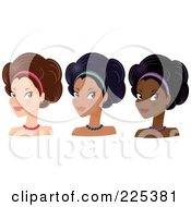 Royalty Free RF Clipart Illustration Of A Digital Collage Of Pretty Women With Headbands And Afro Hair Styles by Melisende Vector