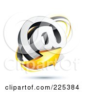 3d Orange Arrow Around An At Symbol On A Shaded White Background