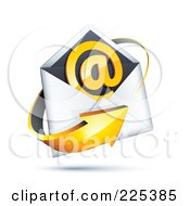 3d Orange Arrow Around An Envelope And At Symbol On A Shaded White Background
