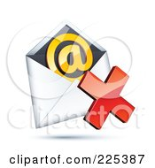 3d Red X Mark Over An Envelope With An Orange At Symbol On A Shaded White Background