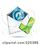 Royalty Free RF Clipart Illustration Of A 3d Green Check Mark Over An Envelope With A Blue At Symbol On A Shaded White Background