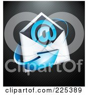 3d Blue Arrow Around An Envelope And At Symbol On A Black Lined Background