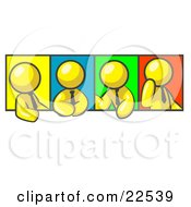 Clipart Illustration Of Four Yellow Men In Different Poses Against Colorful Backgrounds Perhaps During A Meeting