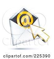 3d Cursor Arrow Over An Envelope With An Orange At Symbol