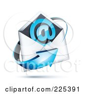 3d Blue Arrow Around An Envelope And At Symbol On A Shaded White Background