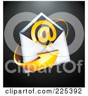 3d Orange Arrow Around An Envelope And At Symbol On A Black Lined Background