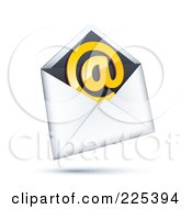 3d Orange At Symbol In A White And Black Envelope On A Shaded White Background