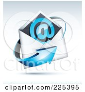 3d Blue Arrow Around An Envelope And At Symbol On A Shaded Background