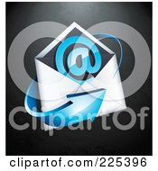3d Blue Arrow Around An Envelope And At Symbol On A Black Textured Background