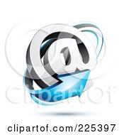 3d Blue Arrow Around An At Symbol On A Shaded White Background