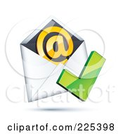3d Red Check Mark Over An Envelope With An Orange At Symbol On A Shaded White Background