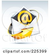 3d Orange Arrow Around An Envelope And At Symbol On A Shaded Background
