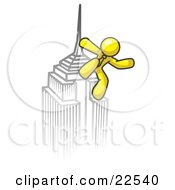 Clipart Illustration Of A Yellow Man Climbing To The Top Of A Skyscraper Tower Like King Kong Success Achievement