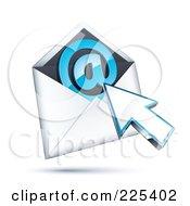 3d Cursor Arrow Over An Envelope With A Blue At Symbol