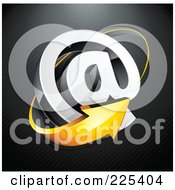 3d Orange Arrow Around An At Symbol On A Black Lined Background