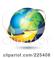 Royalty Free RF Clipart Illustration Of A 3d Orange Arrow Circling A Green And Blue African And European Globe