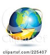 Royalty Free RF Clipart Illustration Of A 3d Orange Arrow Circling A Green And Blue American Globe
