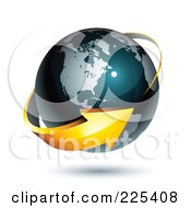 3d Orange Arrow Circling A Dark Blue American Globe