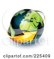 3d Orange Arrow Circling A Green And Dark Blue African And European Globe