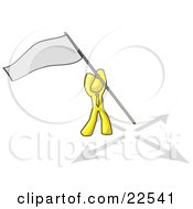 Clipart Illustration Of A Yellow Man Claiming Territory Or Capturing The Flag by Leo Blanchette