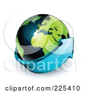 3d Blue Arrow Circling A Green And Dark Blue African And European Globe