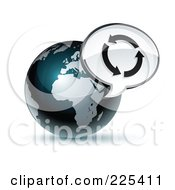 3d Shiny Dark Blue African Globe With A Circle Of Arrows Message Window