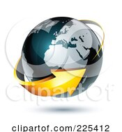 Royalty Free RF Clipart Illustration Of A 3d Orange Arrow Circling A Dark Blue African And European Globe by beboy #COLLC225412-0058