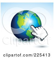 3d Computer Hand Curosr Pointing At A Gray And Blue American Globe