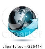 3d Blue Arrow Circling A Dark Blue American Globe