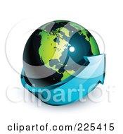3d Blue Arrow Circling A Green And Dark Blue American Globe