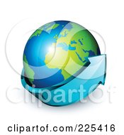 Royalty Free RF Clipart Illustration Of A 3d Blue Arrow Circling A Green And Blue African And European Globe