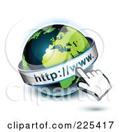 3d Hand Computer Curosr Pointing At A Green And Dark Blue African Globe