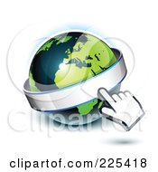 Royalty Free RF Clipart Illustration Of A 3d Hand Computer Curosr Pointing At A Banner On A Green And Dark Blue African Globe
