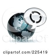 3d Shiny Dark Blue American Globe With A Circle Of Arrows Message Window
