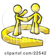 Yellow Salesman Shaking Hands With A Client While Making A Deal