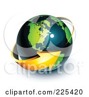3d Orange Arrow Circling A Green And Dark Blue American Globe